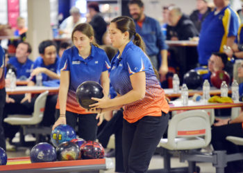 Armstrong senior OIivia Emmonds (above) prepares to bowl during a match last season. Emmonds recorded a team-high 552 as the River Hawks opened the 2018-19 season with a victory over St. Joe's at Wildlife Lanes in Lower Burrell on Wednesday night. Emmonds anchored a strong win by the girls and the boys team also picked up a team win to start the year.